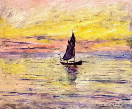 The Sailing Boat, Evening Effect, 1885 of artist Claude Monet as framed image