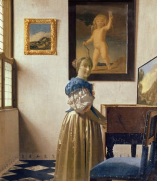 Kunstdruck, individuelle Kunstkarte: Jan Vermeer van Delft, Lady standing at the Virginal, c.1672-73
