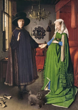 The Portrait of Giovanni  Arnolfini and his Wife Giovanna Cenami   1434 von Künstler Hubert & Jan van Eyck als gerahmtes Bild