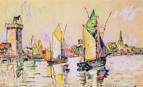 Sailing Boats at Les Sables-d'Olonne of artist Paul Signac as framed image