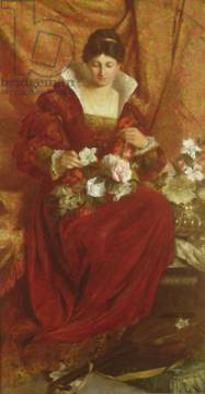 Kunstdruck: Sir Hubert von Herkomer, A Lady arranging flowers
