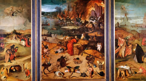 Triptych of the Temptation of St. Anthony of artist Hieronymus Bosch as framed image