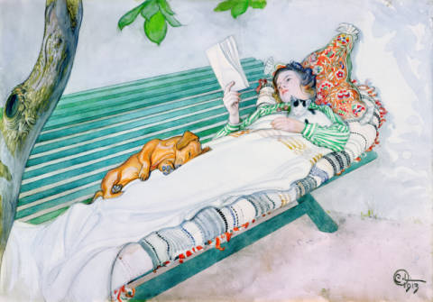 Kunstdruck, individuelle Kunstkarte: Carl Larsson, Woman Lying on a Bench, 1913