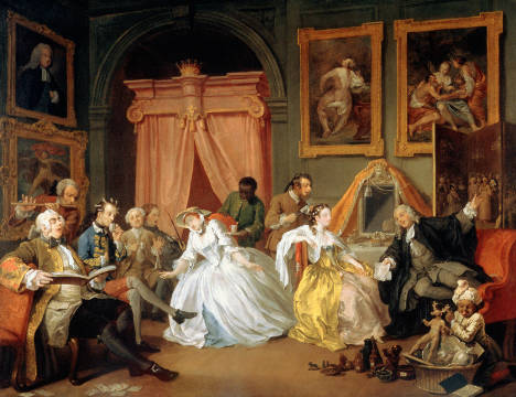 Marriage a la Mode: IV, The Toilette, c.1743 von Künstler William Hogarth als gerahmtes Bild