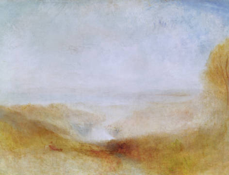 Kunstdruck, individuelle Kunstkarte: Joseph Mallord William Turner, Landscape with a River and a Bay in the Distance