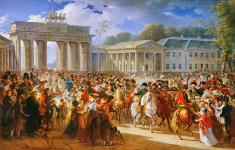 Entry of Napoleon I (1769-1821) into Berlin, 27th October 1806, 1810 of artist Charles Meynier as framed image