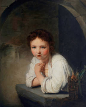 Girl at a Window, 1645 of artist Harmensz van Rijn Rembrandt as framed image