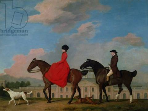 Kunstdruck: George Townley Stubbs, John and Sophia Musters riding at Colwick Hall, 1777