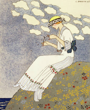 Un Peu..., design for a country dress by Paquin, 1913 of artist Georges Barbier as framed image