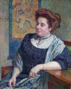 Madame Maurice Denis, 1908 of artist Theodore van Rysselberghe as framed image