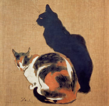 Fine Art Reproduction, individual art card: Theophile-Alexandre Steinlen, Two Cats, 1894