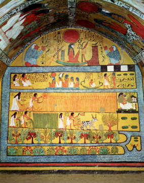 Kunstdruck, individuelle Kunstkarte: Egyptian 19th Dynasty, Harvest Scene on the East Wall, from the Tomb of Sennedjem, The Workers' Village, New Kingdom