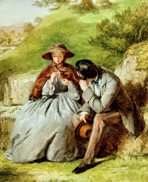 Fine Art Reproduction, individual art card: William Powell Frith, Lovers, 1855