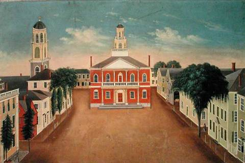 Kunstdruck: George Washington Felt, Fireboard depicting a View of Court House Square, Salem, 1810-20