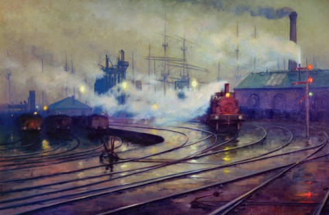 Cardiff Docks, 1896 of artist Lionel Walden as framed image