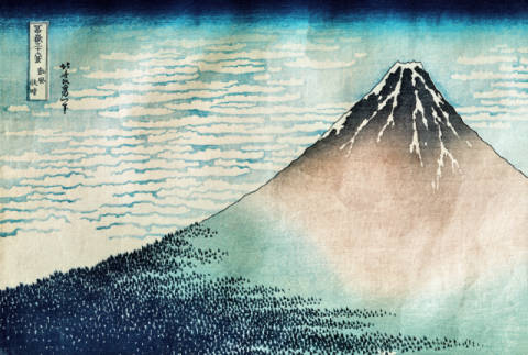'Fuji in Clear Weather', from the series '36 Views of Mount Fuji' von Künstler Katsushika Hokusai als gerahmtes Bild
