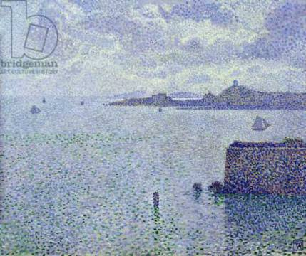 Sailing Boats in an Estuary, c.1892-93 of artist Theodore van Rysselberghe as framed image