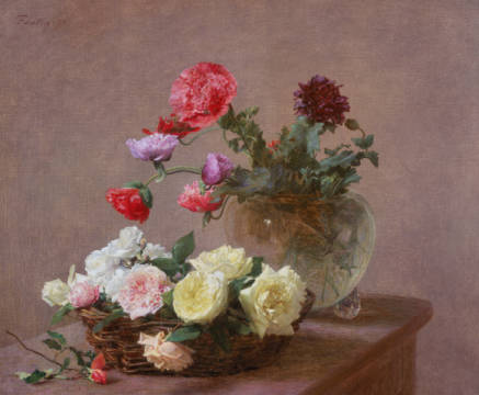 Fine Art Reproduction, individual art card: Ignace Henri Jean Fantin-Latour, Poppies in a Crystal Vase, or Basket of Roses, 1890
