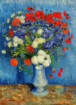 Kunstdruck, individuelle Kunstkarte: Vincent van Gogh, Still Life: Vase with Cornflowers and Poppies, 1887