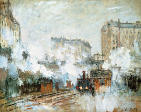 Exterior of the Gare Saint-Lazare, Arrival of a Train, 1877 von Künstler Claude Monet als gerahmtes Bild