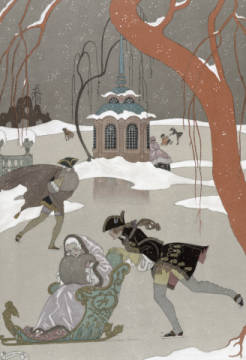 Kunstdruck, individuelle Kunstkarte: Georges Barbier, Ice Skating on the Frozen Lake,  illustration for 'Fetes Galantes' by Paul Verlaine (1844-96) published 1928