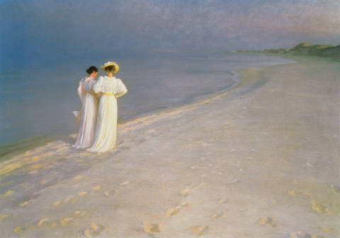 Summer Evening on the Skagen Southern Beach with Anna Ancher and Marie Kroyer, 1893 von Künstler Peter Severin Krøyer als gerahmtes Bild