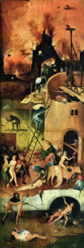 The Haywain: right wing of the triptych depicting Hell, c.1500 of artist Hieronymus Bosch as framed image