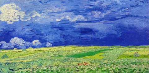 Fine Art Reproduction, individual art card: Vincent van Gogh, Wheatfields under Thunderclouds, 1890