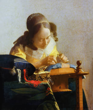 The Lacemaker, 1669-70 of artist Jan Vermeer van Delft as framed image