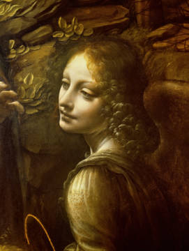 Detail of The Virgin of the Rocks  detail of the angel, c.1508 von Künstler Leonardo da Vinci als gerahmtes Bild