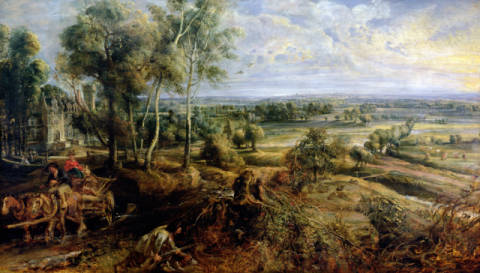 An Autumn Landscape with a view of Het Steen in the Early Morning, c.1636 von Künstler Peter Paul Rubens als gerahmtes Bild