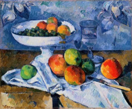 Still Life with Fruit Dish, 1879-80 of artist Paul Cézanne as framed image