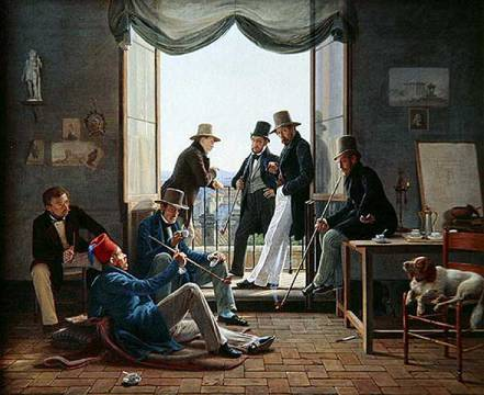 A Group of Danish Artists in Rome, 1837 von Künstler Constantin Hansen als gerahmtes Bild
