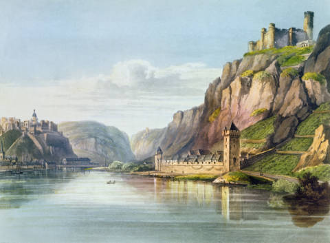 Kunstdruck, individuelle Kunstkarte: Christian Georg Schutz, St. Goarshausen, St. Goar and Rheinfels, engraved by T. Sutherland, from 'A Picturesque Tour along the Rhine, from Mentz to Colo