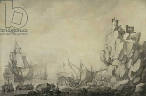 Ships and militia by a rocky shore, c.1680 of artist Willem van de Velde as framed image
