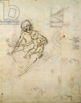 Kunstdruck: Leonardo da Vinci, Studies for a Virgin and Child and of Heads in Profile and Machines, c.1478-80
