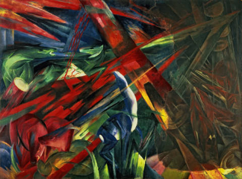 Fine Art Reproduction, individual art card: Franz Marc, Fate of the Animals, 1913