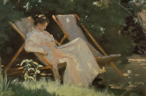 The artist's wife sitting in a garden chair at Skagen, 1893 von Künstler Peter Severin Krøyer als gerahmtes Bild