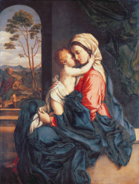 The Virgin and Child Embracing von Künstler Il Sassoferrato als gerahmtes Bild