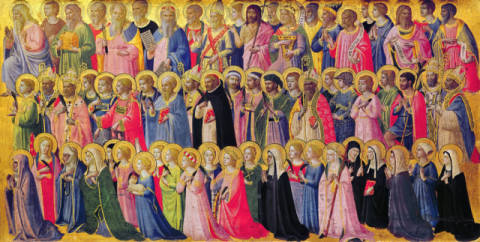 The Forerunners of Christ with Saints and Martyrs, 1423-24 von Künstler Fra Angelico als gerahmtes Bild