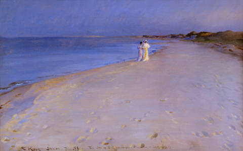 Summer evening at the South Beach, Skagen, 1893 of artist Peter Severin Kr�yer as framed image