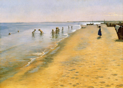 Summer Day at the South Beach of Skagen, 1884 of artist Peter Severin Kr�yer as framed image