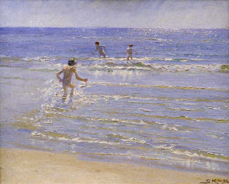 Kunstdruck, individuelle Kunstkarte: Peter Severin Krøyer, Sunshine at Skagen: Boys Swimming, 1892