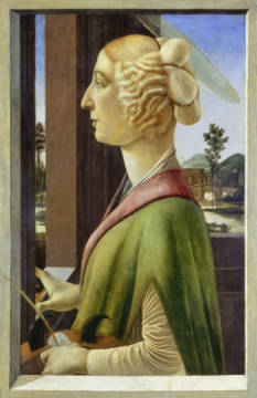 Kunstdruck, individuelle Kunstkarte: Sandro Botticelli, Portrait of a Young Woman with attributes of St. Catherine, 1475-78