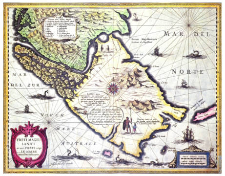 Fine Art Reproduction, individual art card: Dutch School, Map of the Magellan Straits, Patagonia
