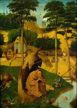 Temptation of St. Anthony, 1490 of artist Hieronymus Bosch as framed image