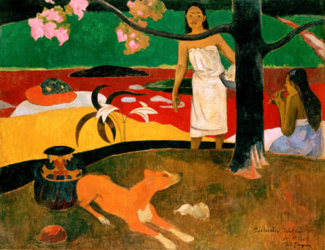 Two Tahitian Women with Dog of artist Paul Gauguin as framed image