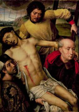 Kunstdruck: Hans Memling, Descent from the Cross, left hand panel from the Deposition Diptych, c.1492-94