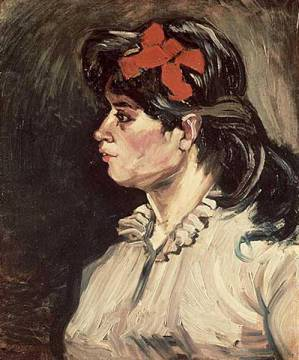Kunstdruck: Vincent van Gogh, Portrait of a Woman with a Red Ribbon, 1885
