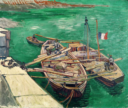 Landing Stage with Boats, 1888 of artist Vincent van Gogh as framed image